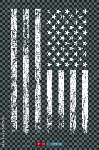 Grunge American flag on transparent background. Template for your design works. Vector illustration. - 267801424