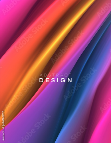 Color Flow Abstract shape poster design. Vector illustration - 267801870