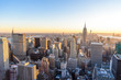 Panorama view of Midtown Manhattan skyline with the Empire State Building from the Rockefeller Center Observation Deck. Top of the Rock - New York City, USA