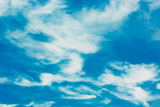 Blue sky with white clouds. Summer background - 267804275