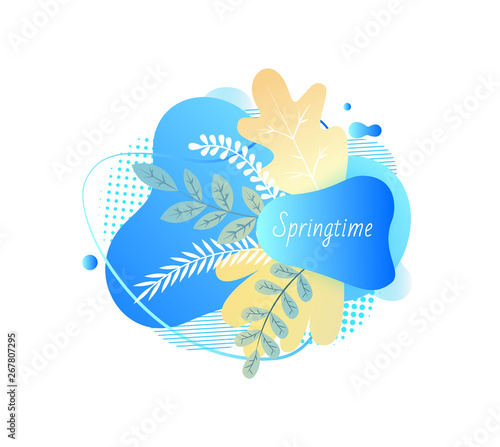 Springtime vector, branches with foliage, spring blooming floral decoration blue isolated banner with inscription, foliage and frontage flat style