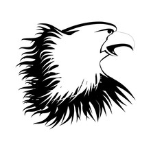 The Head Of An Eagle Is Painted With Black Paint On A White Background. Vector Black And White Image