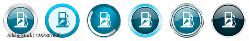 Foto  Fuel silver metallic chrome border icons in 6 options, set of web blue round but