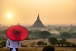Leinwanddruck Bild Tourism industry in Bagan Mandalay Myanmar