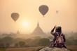 Leinwanddruck Bild Backpacker traveler in Bagan Mandalay Myanmar