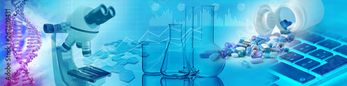 Photo drugs, chemical glasses, microscope and DNA in blue background, 3d illustration