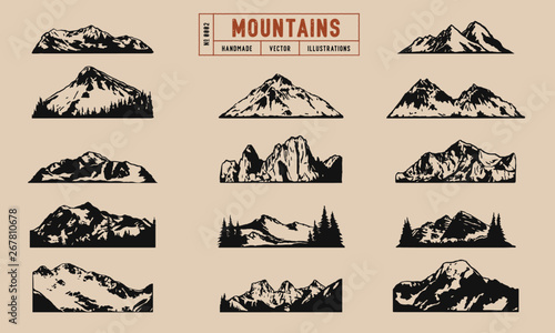 Tablou Canvas Mountain peaks and ridges vector illustrations hand drawn, isolated on a cream background