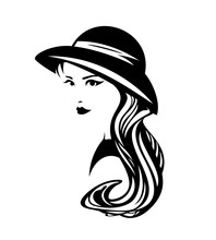 Beautiful Elegant Woman With Long Hair Wearing Small Retro Style Hat - Black And White Vector Portrait
