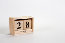 Wooden Calendar August 28 On A White Background