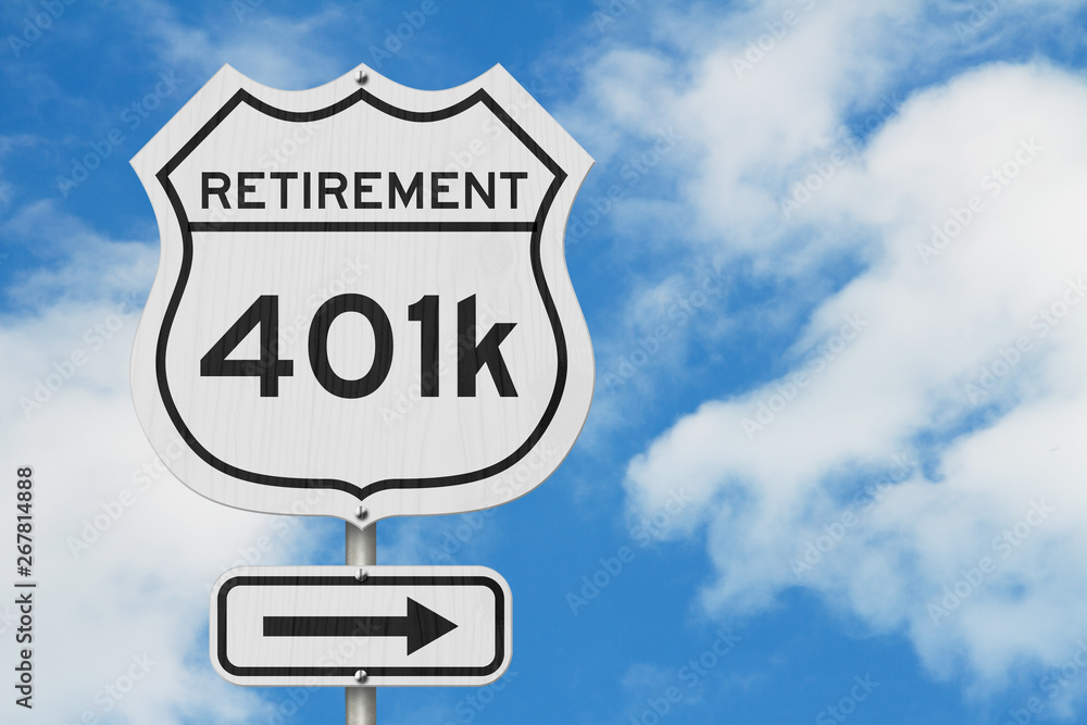 Fototapeta Retirement with 401k plan route on a USA highway road sign