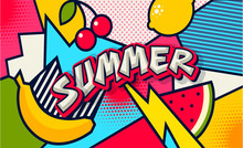 Summer. Pop Art Poster Or Bann...