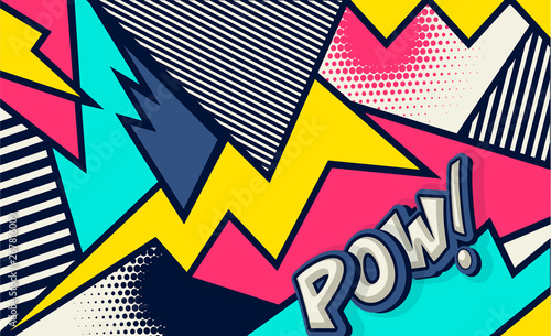 Obraz Comic. Pow! Pop art funny comic speech word. Fashionable poster and banner. Social Media Connecting Blog Communication Content. Trendy and fashion color retro vintage illustration background.  - fototapety do salonu