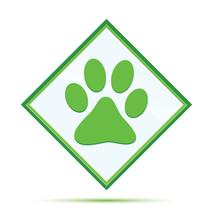Animal Paw Print Icon Modern Abstract Green Diamond Button