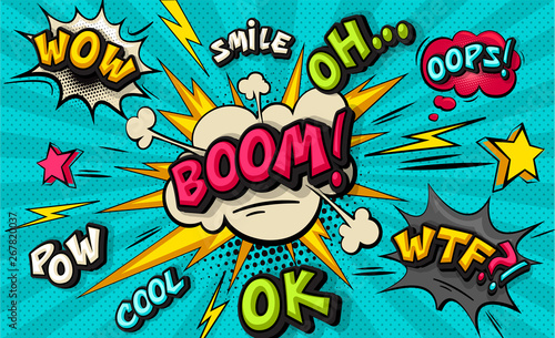 Boom pop art cloud bubble. Smile, wow, pow, cool, ok, oops, wtf funny speech bubble. Trendy Colorful retro vintage background in pop art retro comic style. Illustration easy editable for Your design.