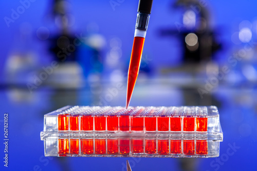 Red Solution or Blood Scientific Research With a Pipette and Cell Plate