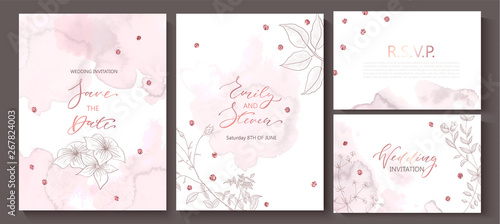 Fototapety, obrazy: Wedding invitation cards with watercolor texture,hand-drawn flowers and plants,geometric shapes and sequins.Vector illustration.