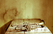Old Trumpet On Sheet Music