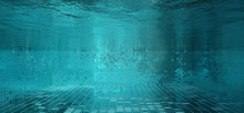Abstract Swimming Pool Tiles Under Water Backdrop 3D Illustration