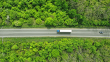 Wagon Driving On The Highway, Aerial. Transport Logistics Background Top View.