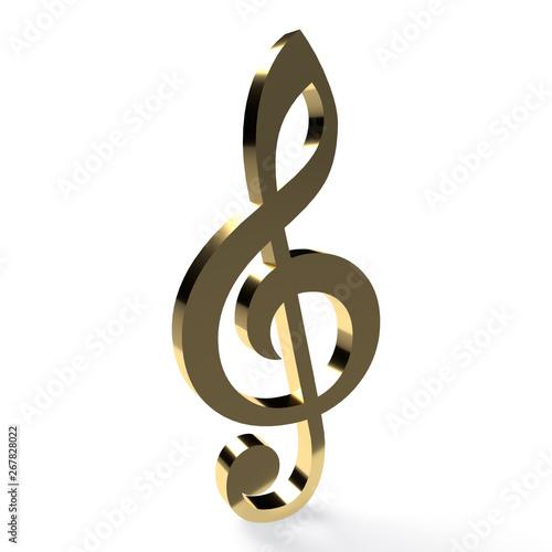 Obraz na płótnie golden 3d treble clef isolated on white background