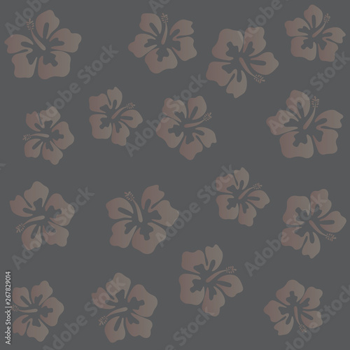Poster Floral black and white Summer hibiscus beautiful flower vector illustration