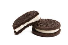 Double Cookies With Milk Cream Isolated