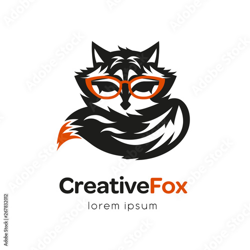 Photo Stands Owls cartoon Creatine fox logo design template. Isolated drawing for use as an icon, logo, identity, in web and application design, for printing on various media and more