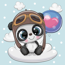 Cute Cartoon Panda Boy With Ba...