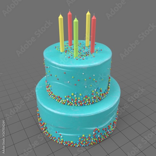 Magnificent Birthday Cake With Candles Buy This Stock 3D Asset And Explore Funny Birthday Cards Online Alyptdamsfinfo