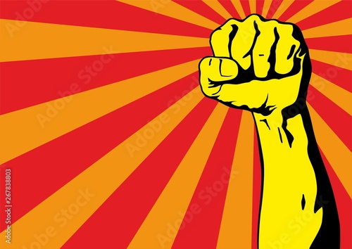 Valokuva  Fist male hand, proletarian protest symbol