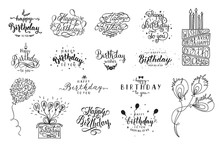 Happy Birthday Party Lettering Design. Set Of Calligraphy Quote Isolated On White Background. Hand Drawn Birthday Cake With Candles, Balloons. Vector Illustration
