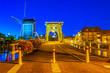 Leinwandbild Motiv Night view of Rembrandt bridge and de Put windmill in Leiden, Netherlands