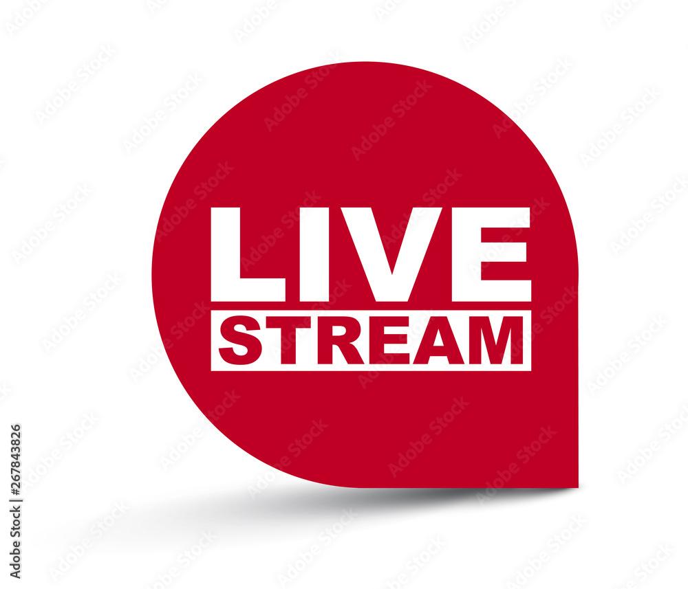 Fototapeta red vector banner live stream