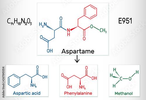 Aspartame, aspartic acid, phenylalanine, methanol molecule Canvas Print