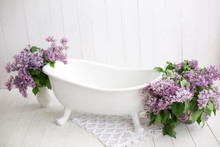 Baby Bath And Lilac Flowers