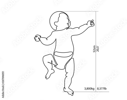 Fotografia, Obraz Full-growth baby for height and weight measurement
