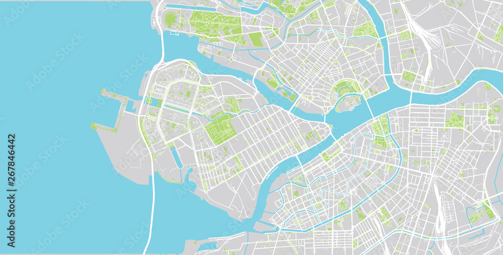 Fototapety, obrazy: Urban vector city map of St Petersburg, Russia