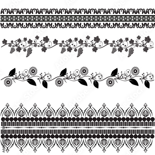 Photo  Set of vector decorative patterns. Mehndi.