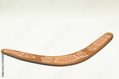 old boomerang isolated on white background Canvas Print