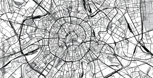 Urban vector city map of Moscow, Russia Wallpaper Mural