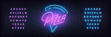 Pizza Neon Template. Glowing L...