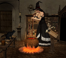 Spellbound Scene With A Witch Stirring Up In The Cauldron With A Rod