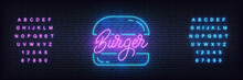 Burger Neon Template. Glowing ...