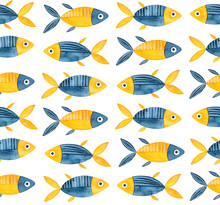 Seamless Repeatable Pattern With Cute Little Fish In Navy Blue And Bright Yellow Color. Handdrawn Watercolour Sketchy Drawing On White. Creative Backdrop For Design, Wallpaper, Children Room Poster.