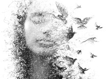 Paintography. Double Exposure Portrait Of An Elegant Woman With Closed Eyes Combined With Hand Made Pencil Drawing Of A Flock Of Birds Flying Freely Resembling Disintegrating Particles Of Her Being