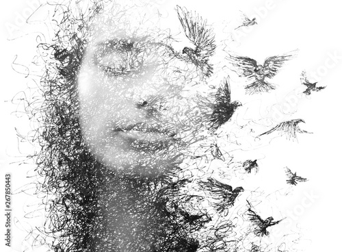 Fototapeta Paintography. Double Exposure portrait of an elegant woman with closed eyes combined with hand made pencil drawing of a flock of birds flying freely resembling disintegrating particles of her being obraz