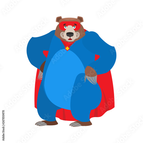 Photo  Bear superhero. Super Grizzly in mask and raincoat. Strong beast
