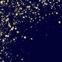 Gold Gradient Star Dust Sparkle Vector Background. Stylish Gold Star Sparkles Dust Elements On Dark Blue Night Sky Vector Illustration. Birthday Starburst Lights Pattern.