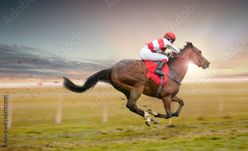 Foto op Canvas Paarden Race horse with jockey on the home straight. Shaving effect.