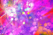 canvas print picture - festive background of colorful bokeh blurry glow. purple pink carnival